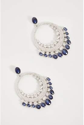 Quiz Navy Jewel Statement Earrings