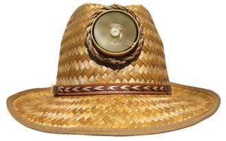 Kool Breeze Solar Hat Kool Breeze Solar Cooling Straw Hat - Fedora (Brown) Hat w. Thin Band (One/Size)