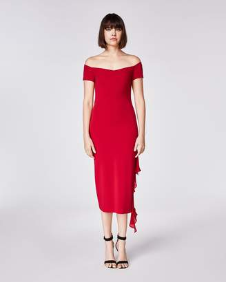 Nicole Miller Structured Heavy Jersey Off Shoulder Dress