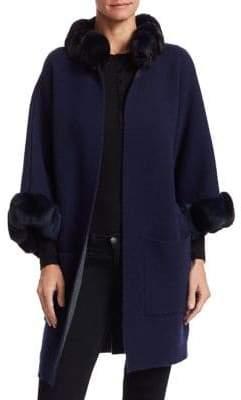 The Fur Salon Chinchilla Fur-Trim Cashmere Trench Coat