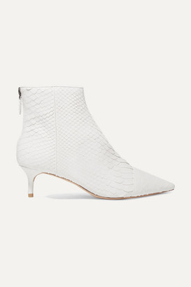 Alexandre Birman Kittie Python Ankle Boots - White