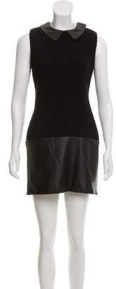 Rachel Zoe Wool Leather-Trimmed Dress w/ Tags