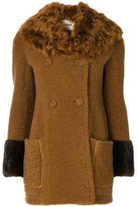 Fendi fur trimmed double breasted coat