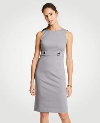Ann Taylor Petite Cotton Sateen Button Tab Sheath Dress