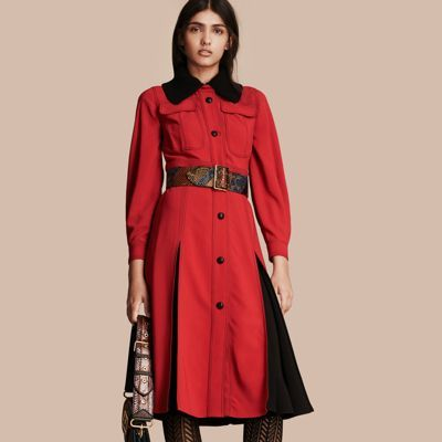 Burberry  Burberry Georgette Dress with Detachable Knitted Cashmere Collar