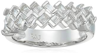 Platinum Plated Sterling Silver Cubic Zirconia Baguette Cut Modern Stacking Band Ring