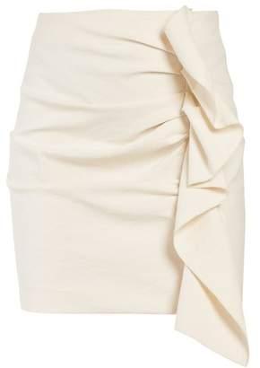 Isabel Marant Lefly Asymmetric Ruffle Mini Skirt - Womens - Cream