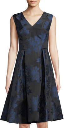 Zac Posen Sleeveless Floral Mikado Fit & Flare Dress