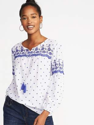 Old Navy Embroidered Tassel-Tie Swing Top for Women