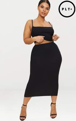 PrettyLittleThing Plus Black Midaxi Skirt