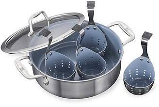 Zwilling J.A. Henckels Six-Piece Stainless Steel Ceramic Non-Stick Universal Pan & Egg Poacher Set