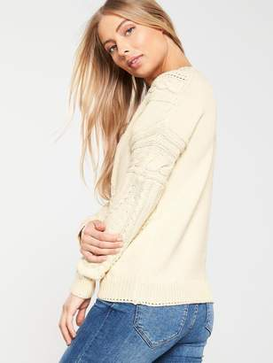 Very Cable and Mesh Thick Knit Jumper - Cream
