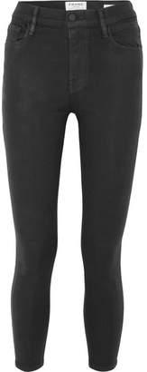 Frame Ali Coated High-rise Skinny Jeans - Black