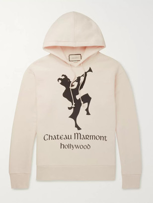 Gucci Oversized Printed Loopback Cotton-Jersey Hoodie - Men - Neutrals