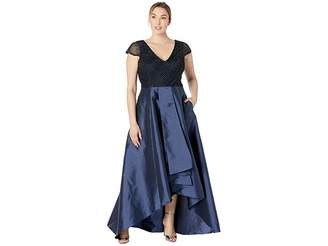 Adrianna Papell Short Sleeve Beaded Bodice with High-Low Taffeta Skirt