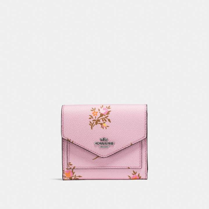 Coach New YorkCoach Small Wallet With Cross Stitch Floral Print - LILY CROSS STITCH FLORAL/SILVER - STYLE
