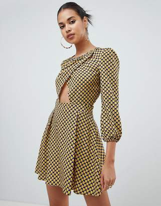PrettyLittleThing cut out skater dress in square print
