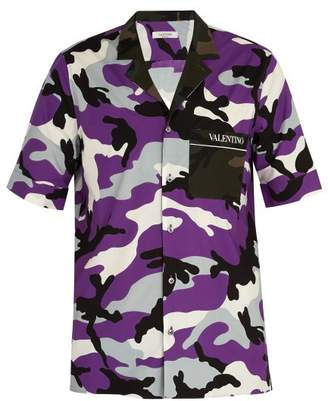 Valentino Camouflage Print Cotton Shirt - Mens - Purple