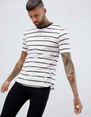 Nicce London t-shirt in white stripe