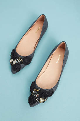 All Black Flannel Almond-Toe Flats