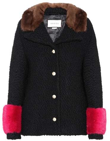 Gucci Mink fur-trimmed wool-blend coat