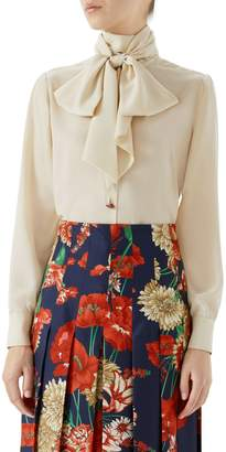 Gucci Silk Crepe de Chine Bow Blouse