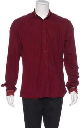 Balmain Woven Knit-Trimmed Shirt