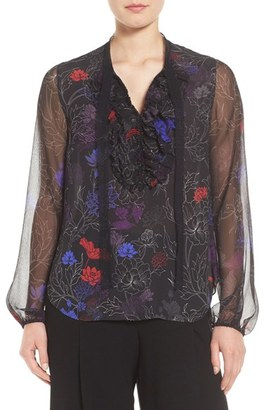 Women's Elie Tahari Renata Ruffle Floral Silk Blouse $298 thestylecure.com
