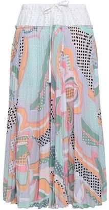 Emilio Pucci Perforated Poplin And Printed Crepe Midi Skirt