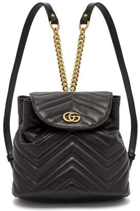 Gucci Gg Marmont Quilted Leather Backpack - Womens - Black
