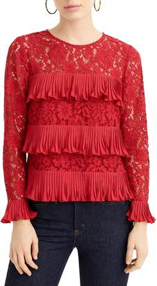 J.Crew Pleated Lace Top