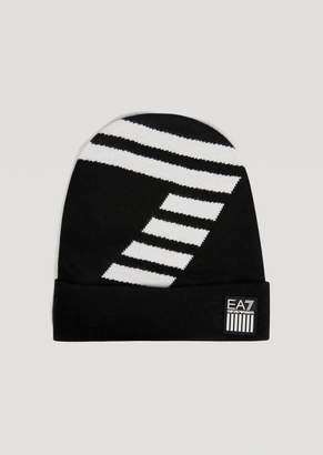 Emporio Armani Knitted Hat With Contrast Ea7 Logo
