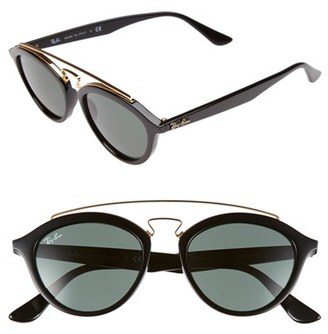 Women's Ray-Ban 'Highstreet' 50Mm Brow Bar Sunglasses - Black $150 thestylecure.com