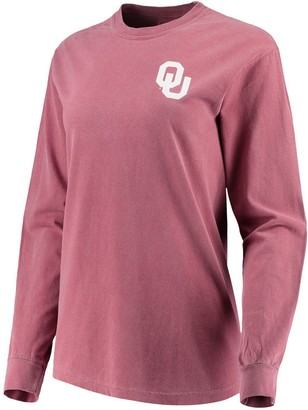 Unbranded Women's Crimson Oklahoma Sooners Comfort Colors Campus Skyline Long Sleeve Oversized T-Shirt