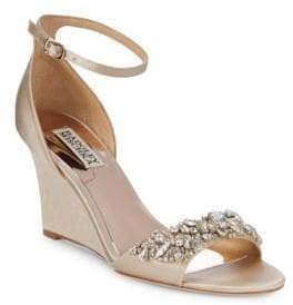 Badgley Mischka Tyra Embellished Satin Ankle Strap Sandals