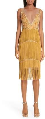 Marchesa Embellished Tiered Fringe Dress