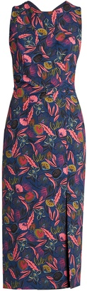 SALONI Justine floral leaf-print midi dress $595 thestylecure.com
