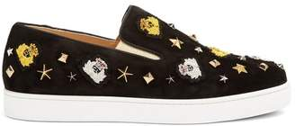 Christian Louboutin Mister Academy Embellished Slip On Suede Trainers - Mens - Black Multi
