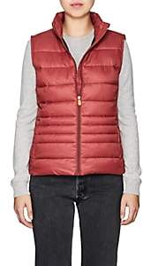 Save The Duck SAVE THE DUCK WOMEN'S CHANNEL-QUILTED TECH-FABRIC VEST-BURGUNDY,992 SIZE XS