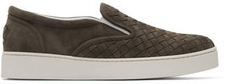 Bottega Veneta Brown Suede Intrecciato Dodger Slip-On Sneakers
