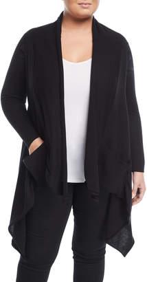 Neiman Marcus Plus Cascade-Front Pocket Cardigan, Plus Size