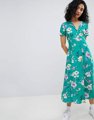 Bershka floral midi shirt dress in green