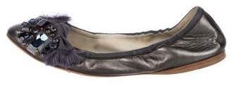 Miu Miu Metallic Leather Flats