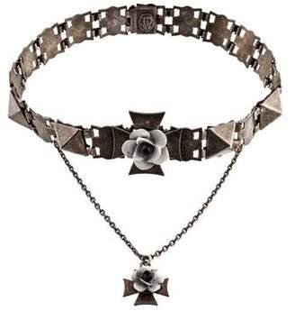 Jean Paul Gaultier Cross Floral Collar Necklace