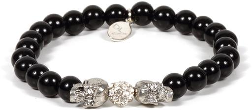 Singer22 Poppy S. Beaded Pave Skull Bracelet in Onyx - by Devora Libin Jewels