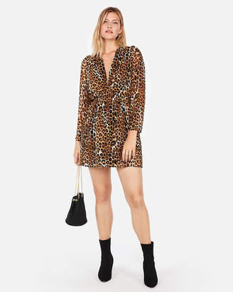 Express Leopard Plunge Front Fit And Flare Mini Dress