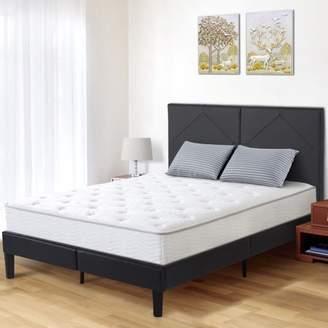 """GranRest 14"""" Dura Metal Faux Leather Platform Bed Frame, King"""