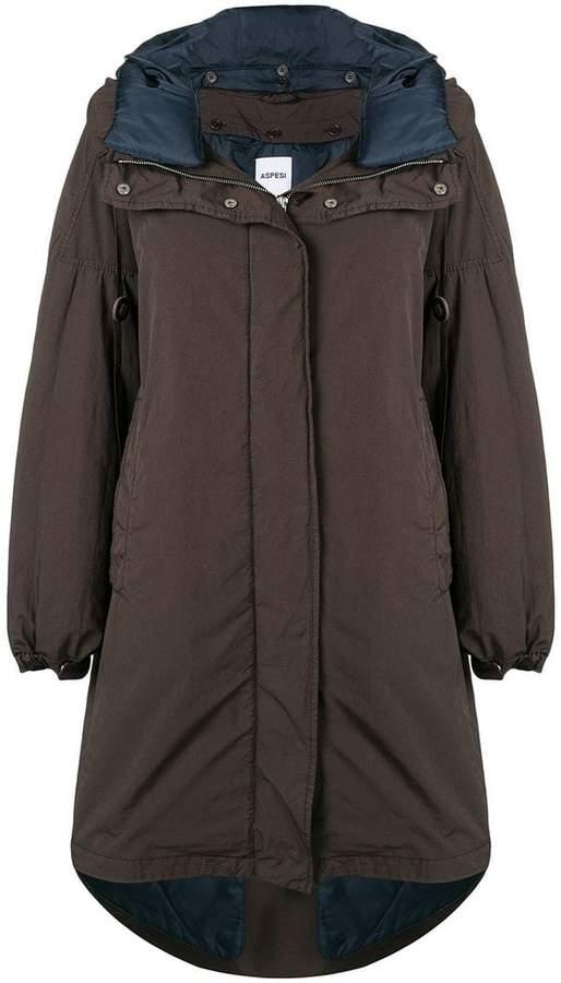 hooded flared coat