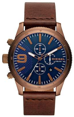 Diesel Men's Rasp Leather Strap Watch, 47mm