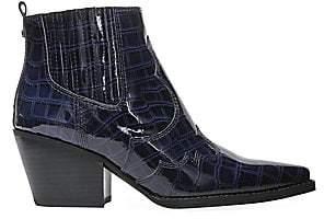 Sam Edelman Women's Winona Crocodile-Embossed Point Toe Leather Ankle Boots